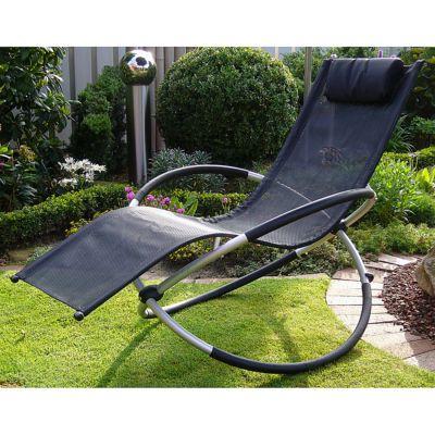 designer garten schaukelstuhl leco schwarz aluminium mit auflage 2 von 2 ebay. Black Bedroom Furniture Sets. Home Design Ideas