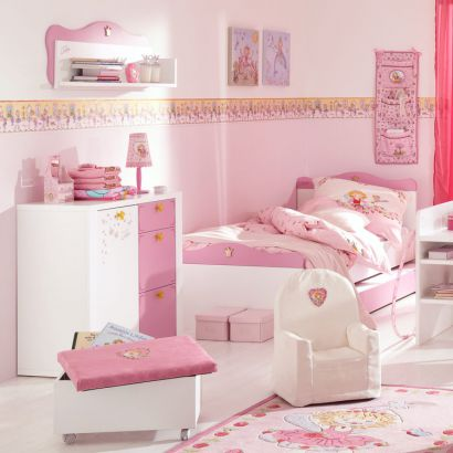 sparset prinzessin lillifee 3 teilig bett kommode kleiderschrank rosa wei. Black Bedroom Furniture Sets. Home Design Ideas