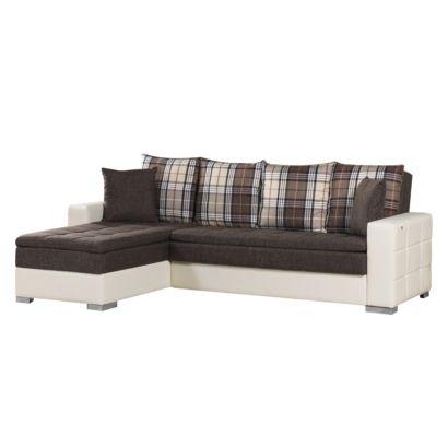 ecksofa sofa kunstleder wei mit schwarzen armlehnen u. Black Bedroom Furniture Sets. Home Design Ideas