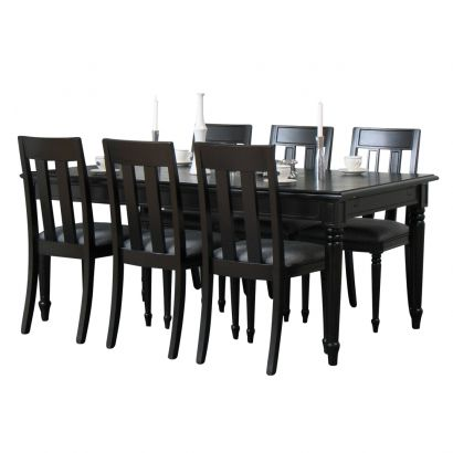 Eethoek Mozart - eetkamer antiek barok - tafel met 6 stoelen - zwart
