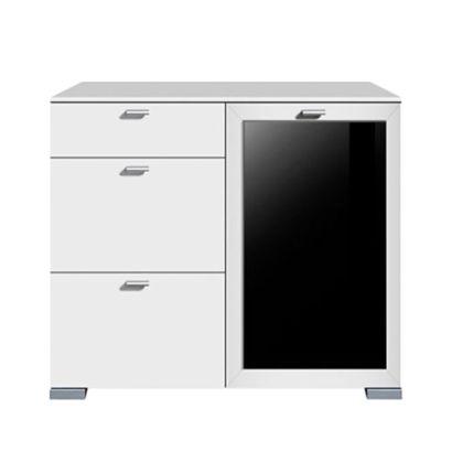 Kommode Gallery Plus - 1-türig/Glas/3 Schubladen - schwarz/weiß