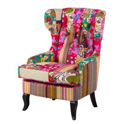 ohrensessel florale webstoff patchwork home24. Black Bedroom Furniture Sets. Home Design Ideas