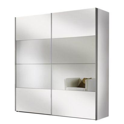 Armadio ad ante scorrevoli Portiers - Bianco candido/Specchio Home24
