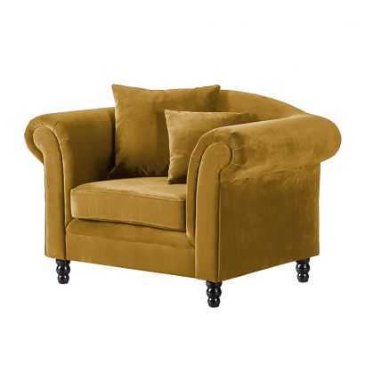 fauteuil york mosterdgeel fluweel. Black Bedroom Furniture Sets. Home Design Ideas