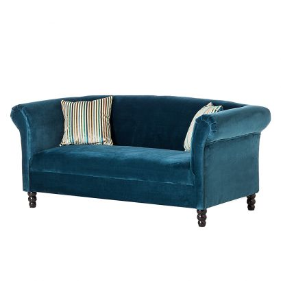 Canap aviva 2 places velours turquoise for 2 sitzer couch