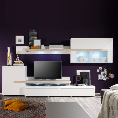 wohnwand cello 5 teilig wei eiche dekor home24. Black Bedroom Furniture Sets. Home Design Ideas