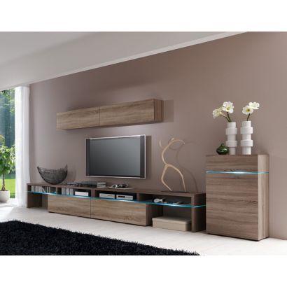 wohnwand colourart 4 teilig schwarz kaufen home24. Black Bedroom Furniture Sets. Home Design Ideas