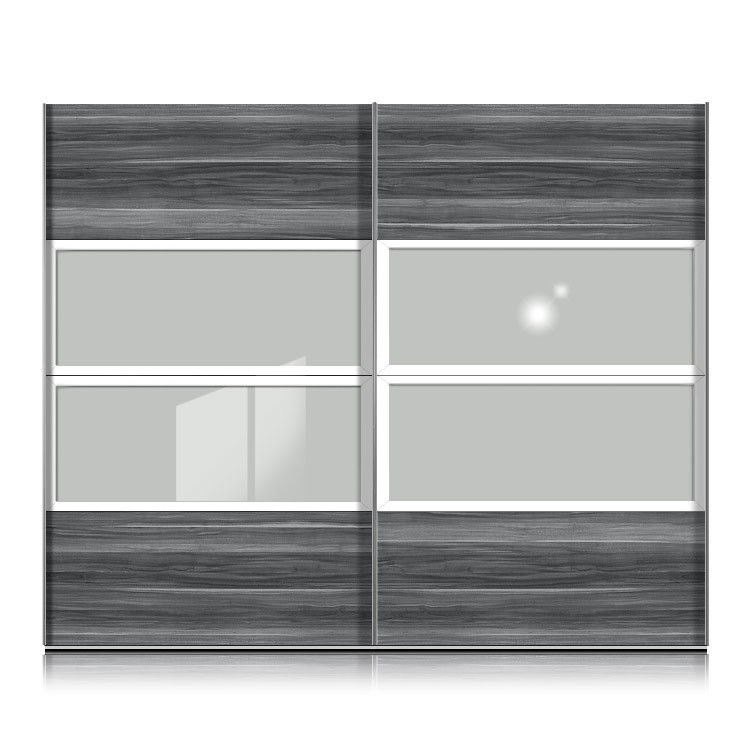 armoire portes coulissantes kick blanche noyer gris. Black Bedroom Furniture Sets. Home Design Ideas