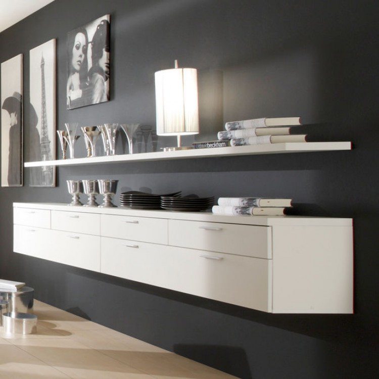 buffet suspendu empire plus blanc cr me. Black Bedroom Furniture Sets. Home Design Ideas