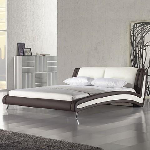 cadre de lit matelass west village cuir synth tique blanc et marron. Black Bedroom Furniture Sets. Home Design Ideas