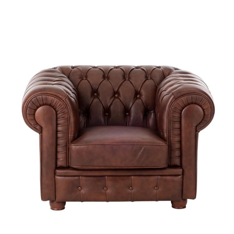 fauteuil birmingham leer bruin chesterfield look. Black Bedroom Furniture Sets. Home Design Ideas