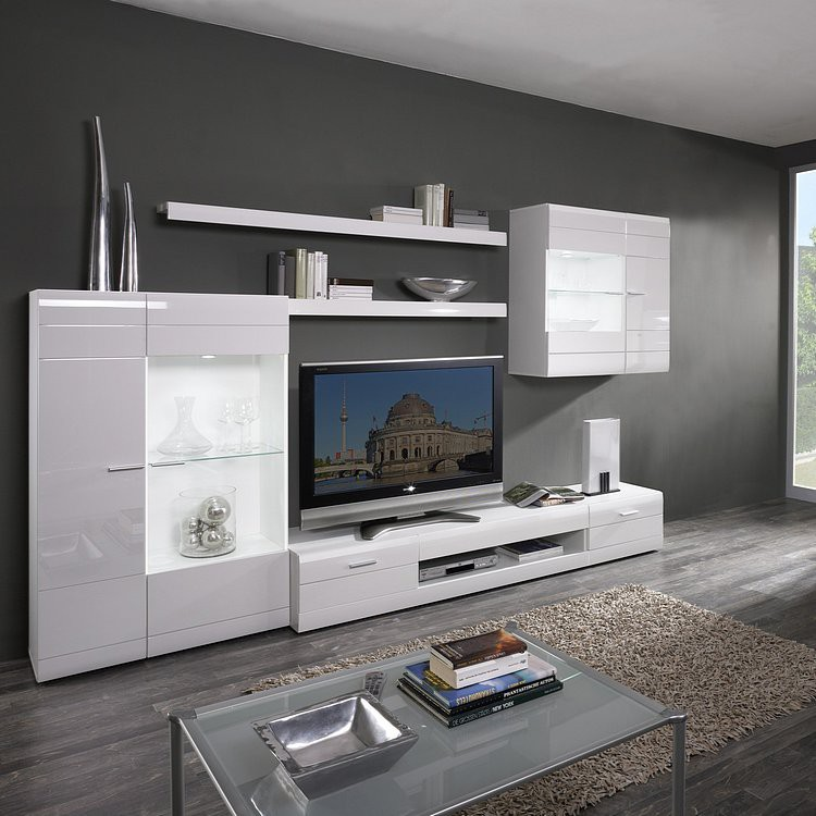 Ensemble mural tv blanca ii 6 l ments blanc brillant for Element mural tv