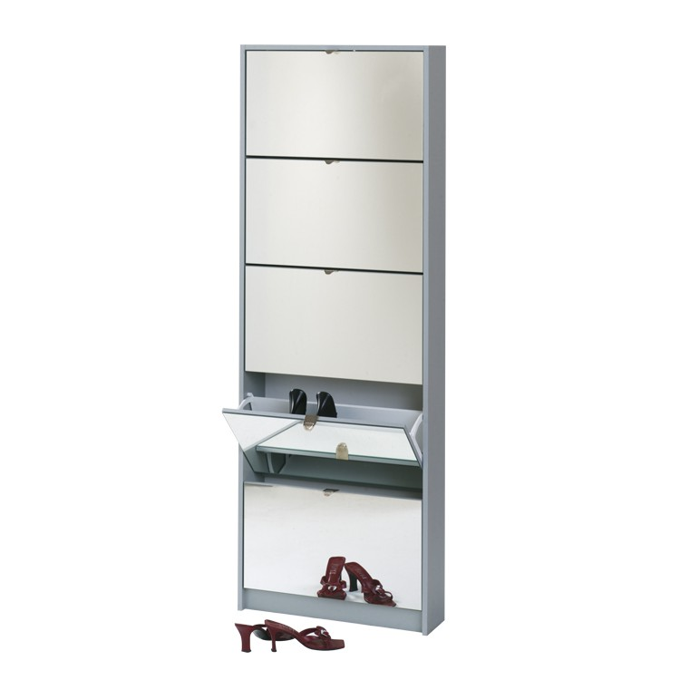 schuhschrank silver mit spiegel silber home24. Black Bedroom Furniture Sets. Home Design Ideas