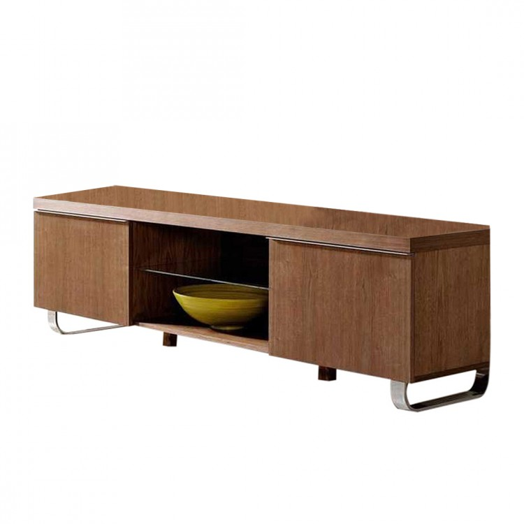 Buffet bas tv charlie noyer contre plaqu couleur bois for Buffet bas tv