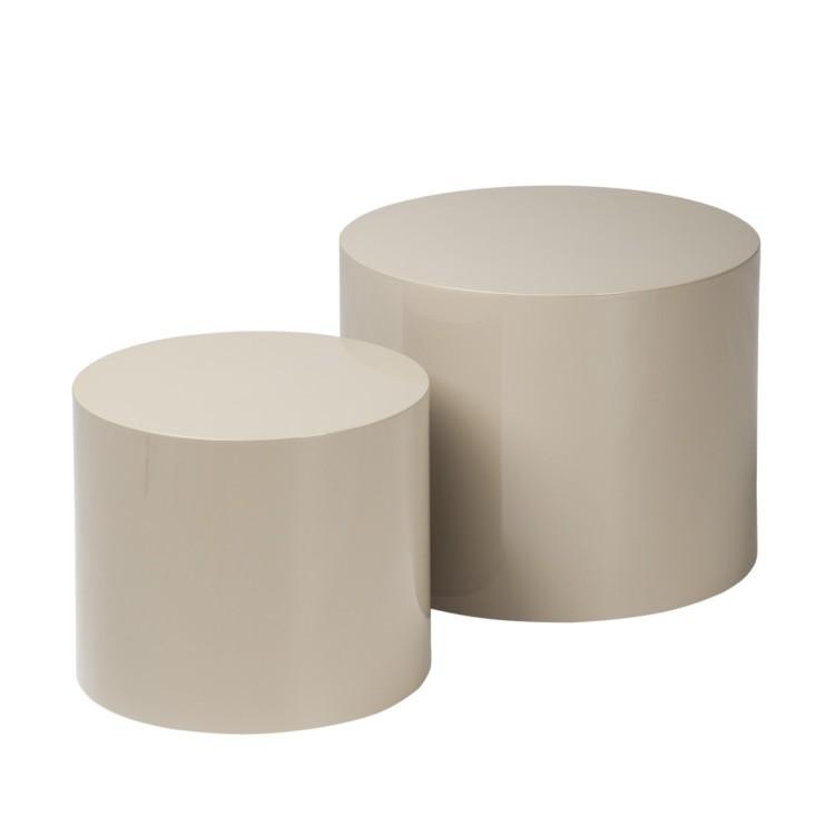Neu 2er set beistelltisch grau braun hochglanz for Beistelltisch c form