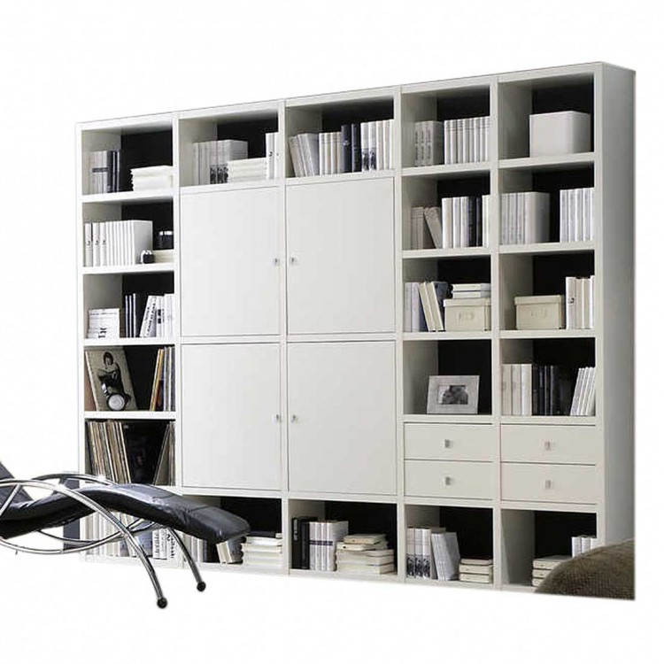 mur biblioth que blanc. Black Bedroom Furniture Sets. Home Design Ideas
