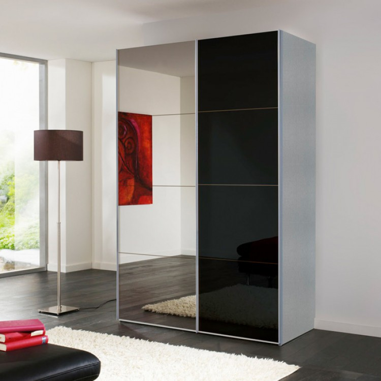 schwebet renschrank portiers silber spiegel schwarzglas home24. Black Bedroom Furniture Sets. Home Design Ideas