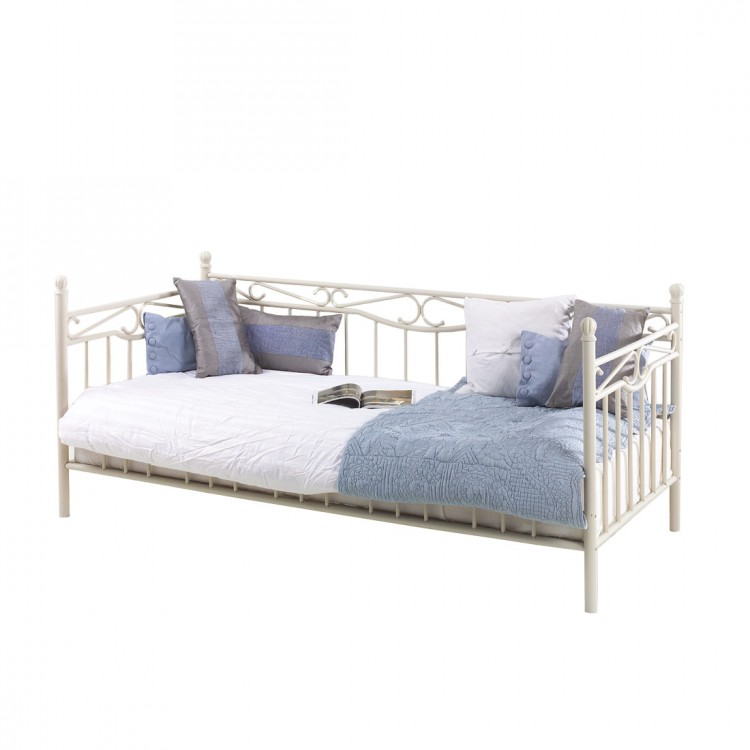 metallbett creme einzelbett 90x200 jugendbett kinderbett bettgestell bett neu ebay. Black Bedroom Furniture Sets. Home Design Ideas