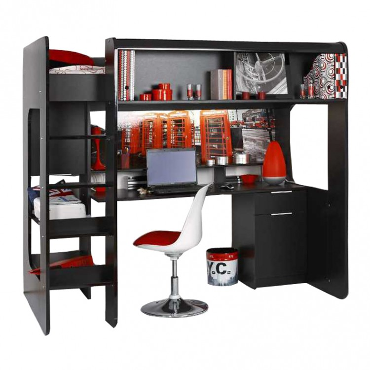 lit mezzanine hi teck noir avec motif londres. Black Bedroom Furniture Sets. Home Design Ideas
