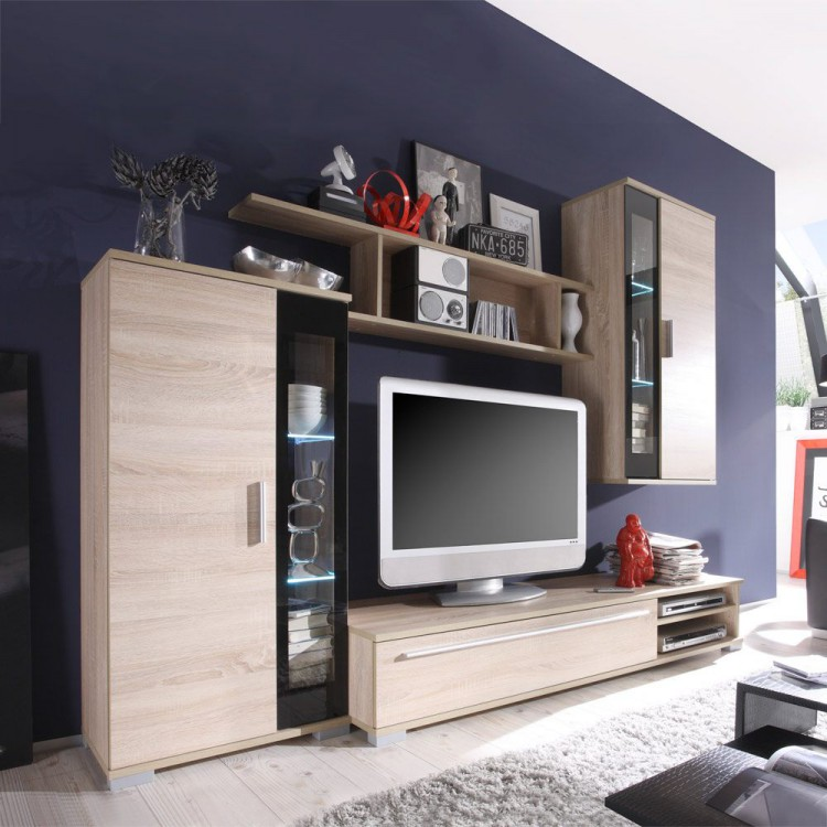 wohnwand swing 4 teilig eiche sonoma dekor home24. Black Bedroom Furniture Sets. Home Design Ideas