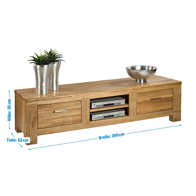 tv lowboard ulme holz tv hifi rack sideboard fernsehtisch board schrank neu ebay. Black Bedroom Furniture Sets. Home Design Ideas