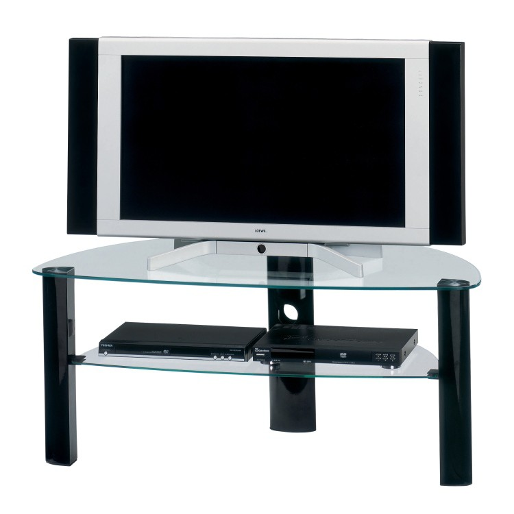 Table basse pour tv en m tal noir brillant verre clair for Table tv verre