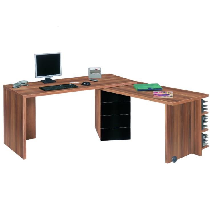 schreibtisch ausschwenkbarer arbeitsplatte helsinki nussbaum schwarz dekor home24. Black Bedroom Furniture Sets. Home Design Ideas