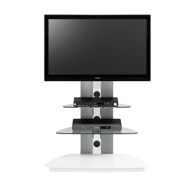 Meuble tv mod le leah avec support universel aluminium for Meuble tv avec support