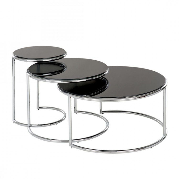 3er set beistelltisch schwarz glas chrom couchtisch sofa. Black Bedroom Furniture Sets. Home Design Ideas