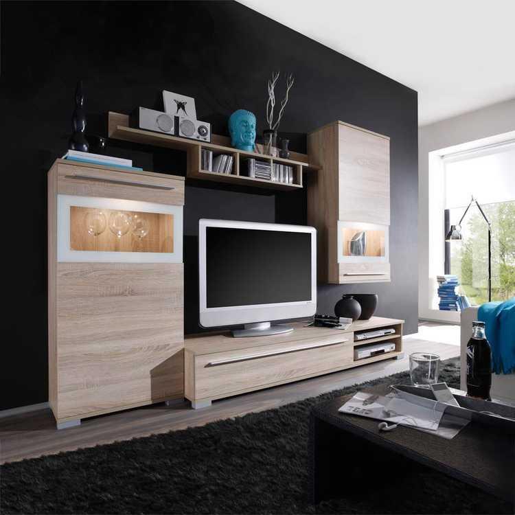 Ensemble meuble tv jessica sonoma bon prix en ligne for Meuble sonoma