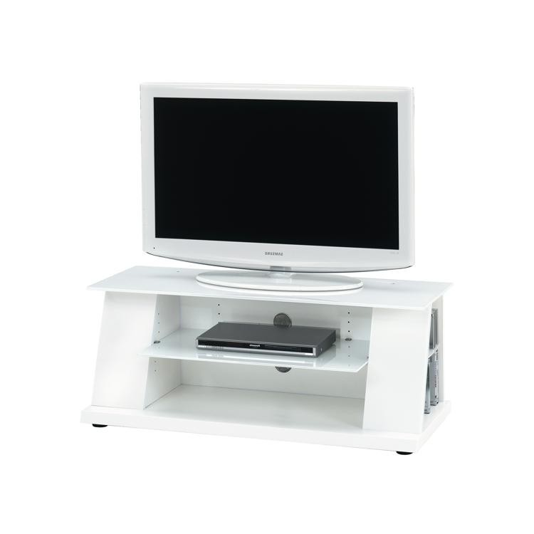 tv rack wei hochglanz glas fernsehtisch lowboard tv hifi. Black Bedroom Furniture Sets. Home Design Ideas