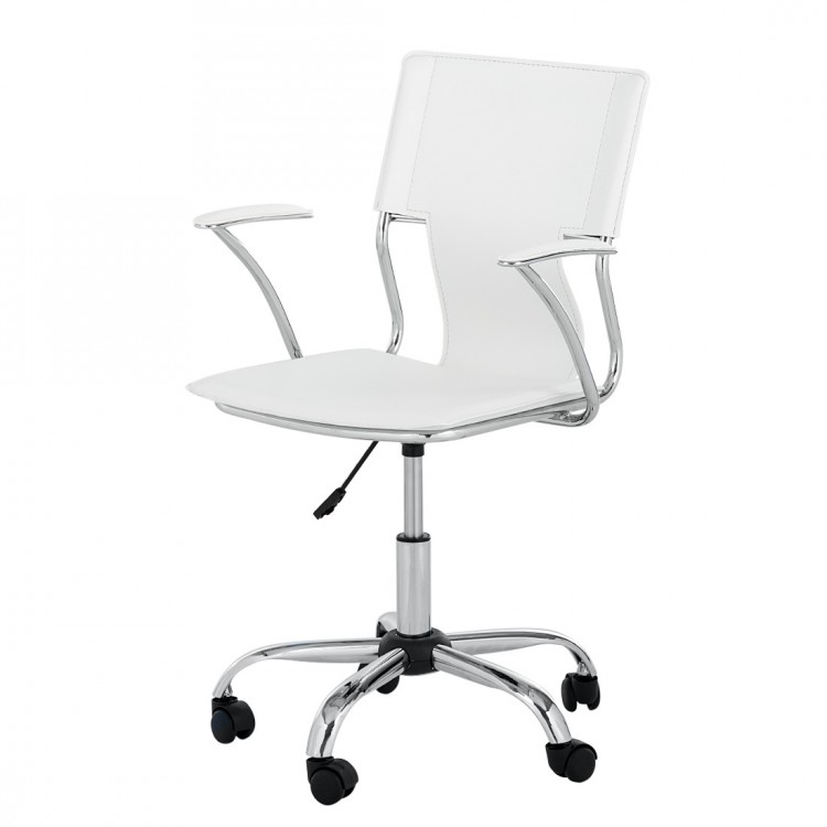 Chaise de bureau pivotante luke cuir synth tique blanc for Chaise de bureau blanche