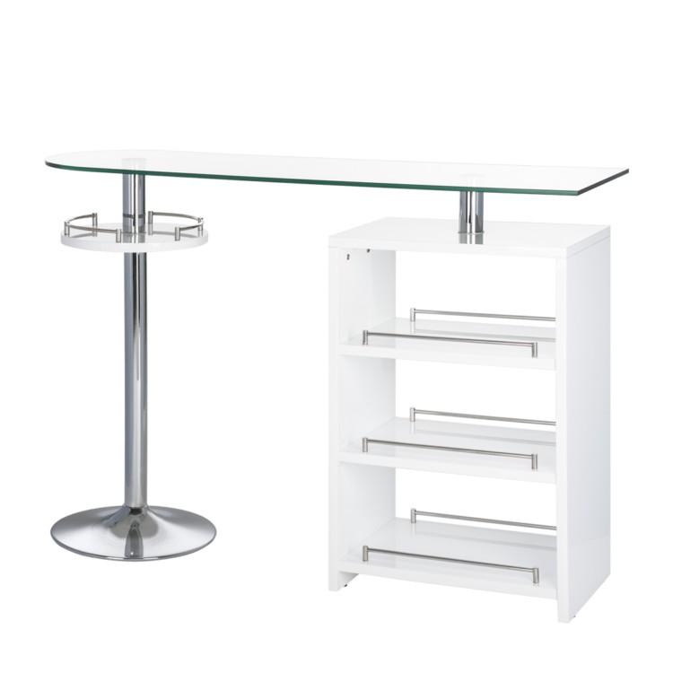 bartisch michelle mit glasplatte und chromgestell home24. Black Bedroom Furniture Sets. Home Design Ideas