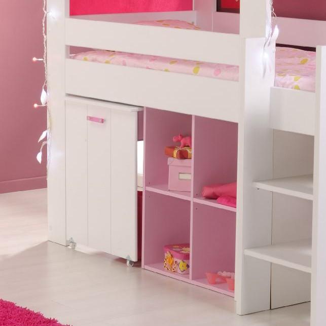 Hoogslaper biotiful wit roze - Hoogslaper met geintegreerde garderobe ...