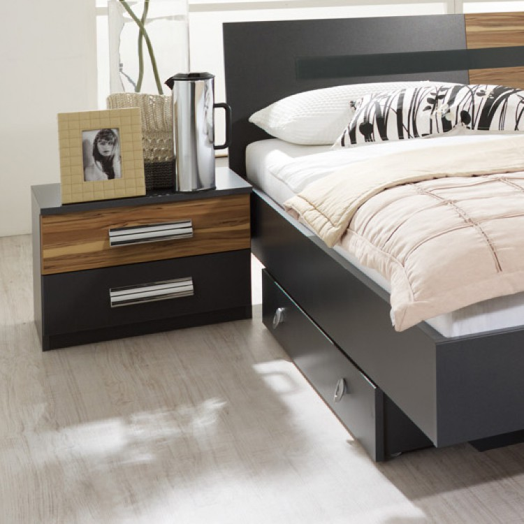 schlafzimmer set brione 4 teilig bett schrank 2 nachtkommoden home24. Black Bedroom Furniture Sets. Home Design Ideas