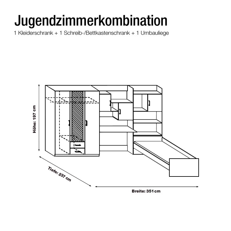 jugendzimmer flow 3 teilig alpinwei online kaufen home24. Black Bedroom Furniture Sets. Home Design Ideas