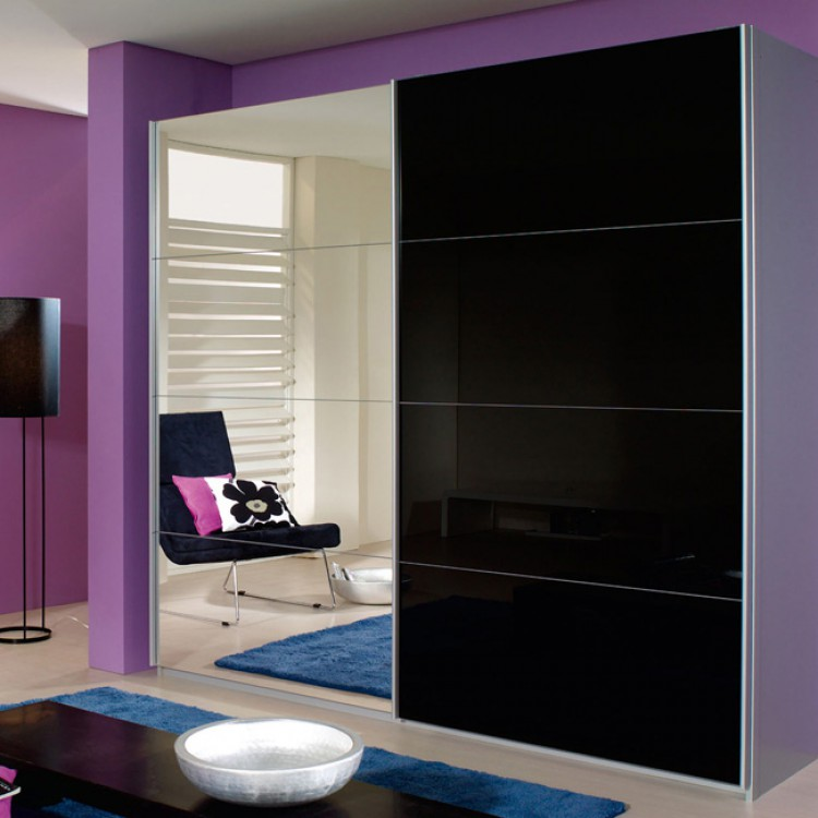 schwebet renschrank quadra mit spiegel alu geb rstet schwarz home24. Black Bedroom Furniture Sets. Home Design Ideas