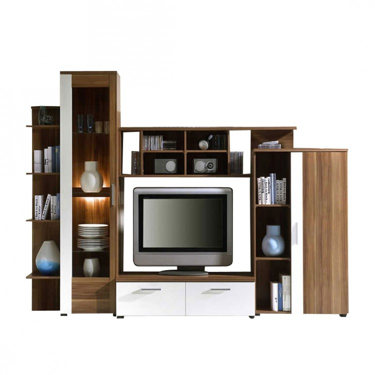 wohnwand santa clara weiss nussbaum home24. Black Bedroom Furniture Sets. Home Design Ideas