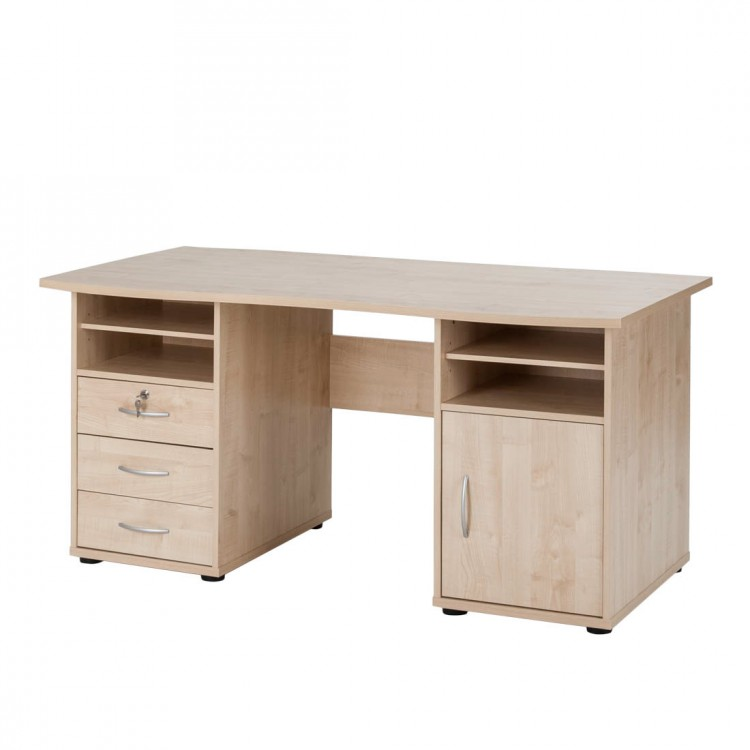 Bureau t by plan de travail courbe fermant cl grand for Bureau grand rangement
