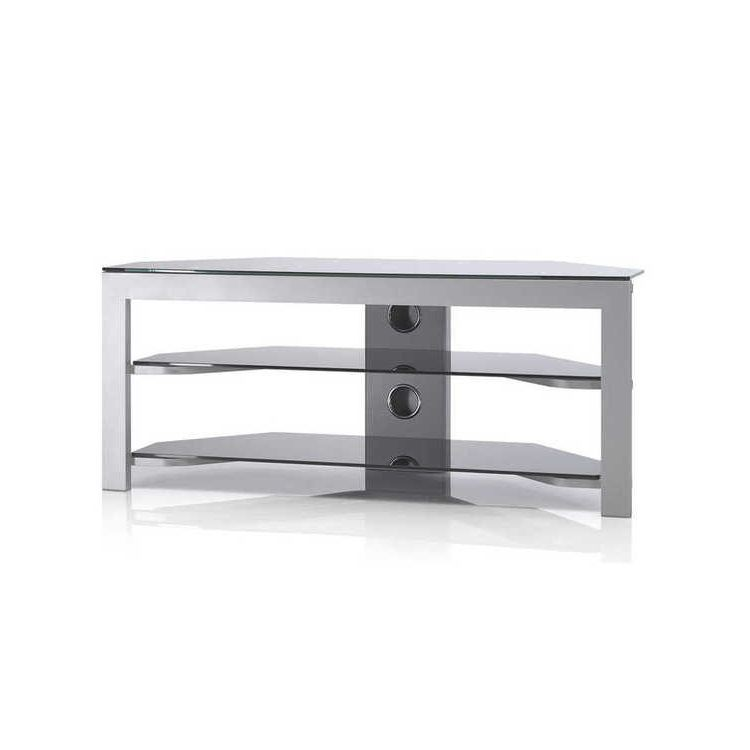 meuble tv just racks jrb120 si bg argent verre noir. Black Bedroom Furniture Sets. Home Design Ideas
