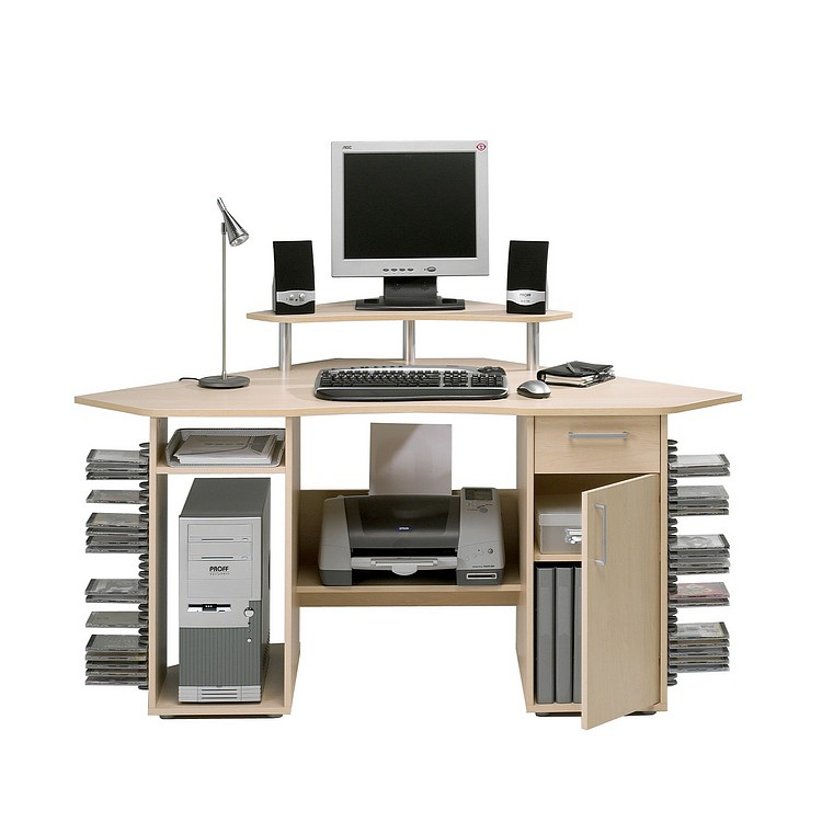 bureau informatique d angle elixier avec armature rable clair. Black Bedroom Furniture Sets. Home Design Ideas