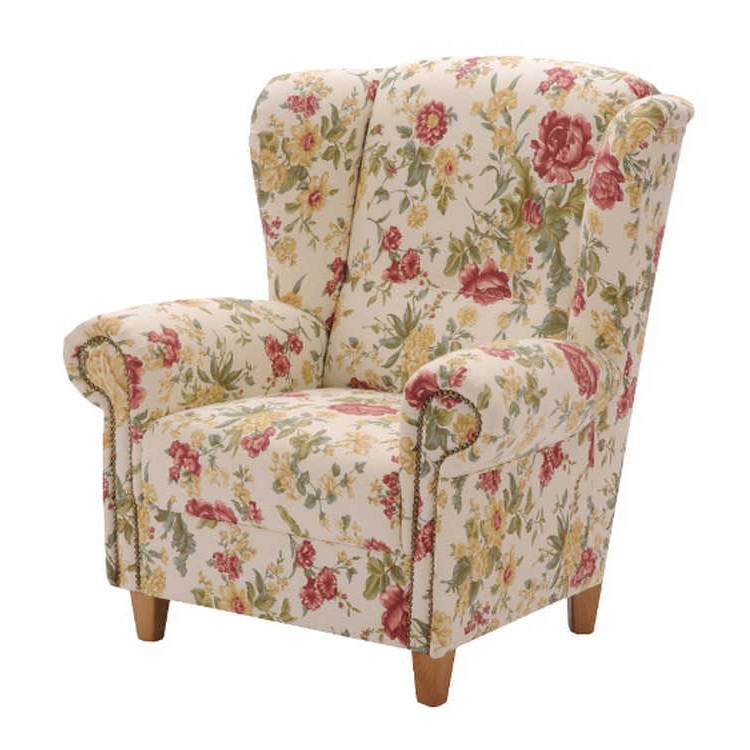 Ohrensessel victoria stoff floral home24 for Ohrensessel stoff