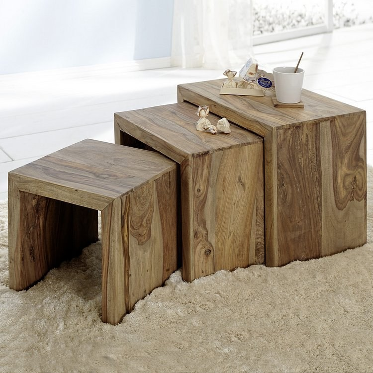 table cubique yoga bois de sheesham et noyer. Black Bedroom Furniture Sets. Home Design Ideas