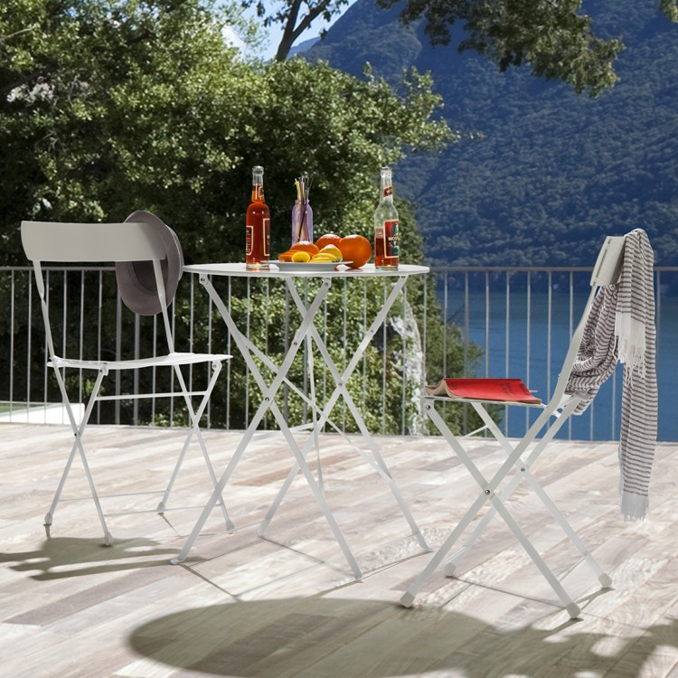 gartenm bel set 3tlg metall wei balkon terrasse garten st hle tisch neu ebay. Black Bedroom Furniture Sets. Home Design Ideas