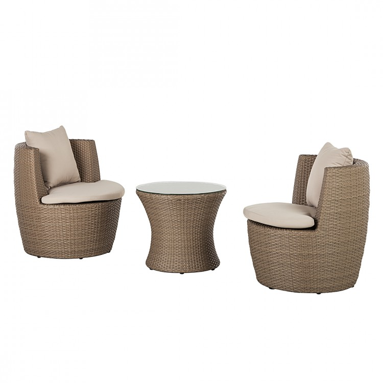balkon set rattanesco puca 3 teilig polyrattan braun home24. Black Bedroom Furniture Sets. Home Design Ideas