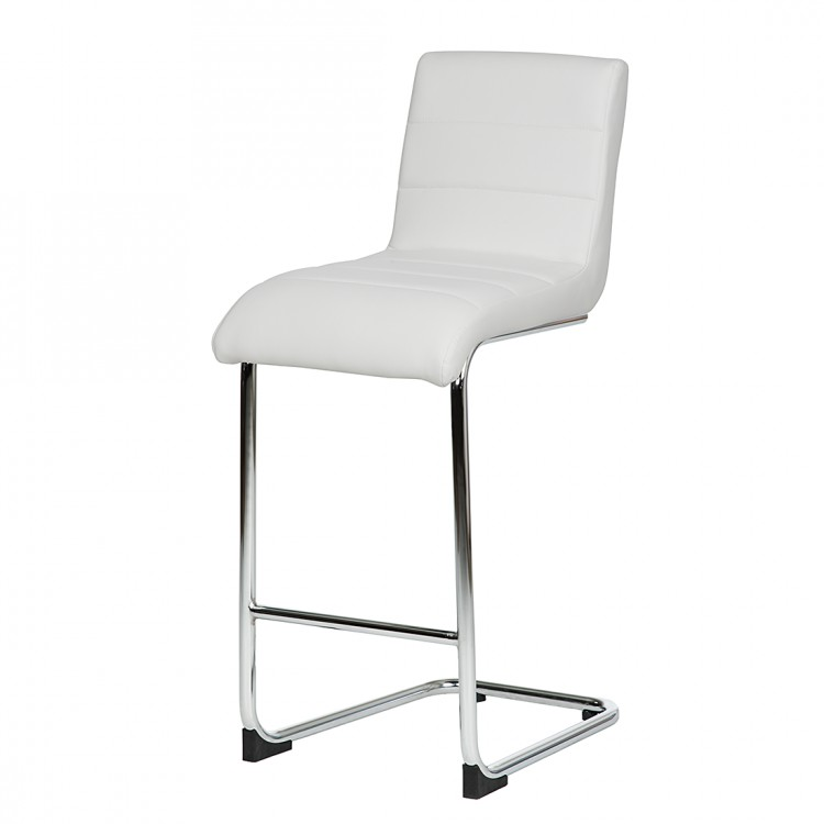 2er set barstuhl wei chrom barhocker hocker stuhl k che. Black Bedroom Furniture Sets. Home Design Ideas