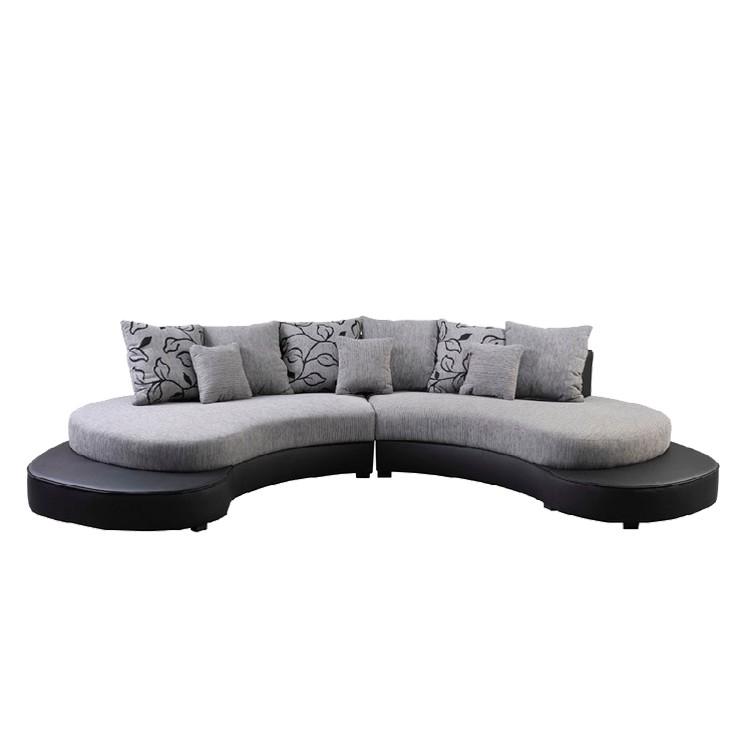Sofa bari strukturstoff schwarz silber home24 for Sofa nierenform