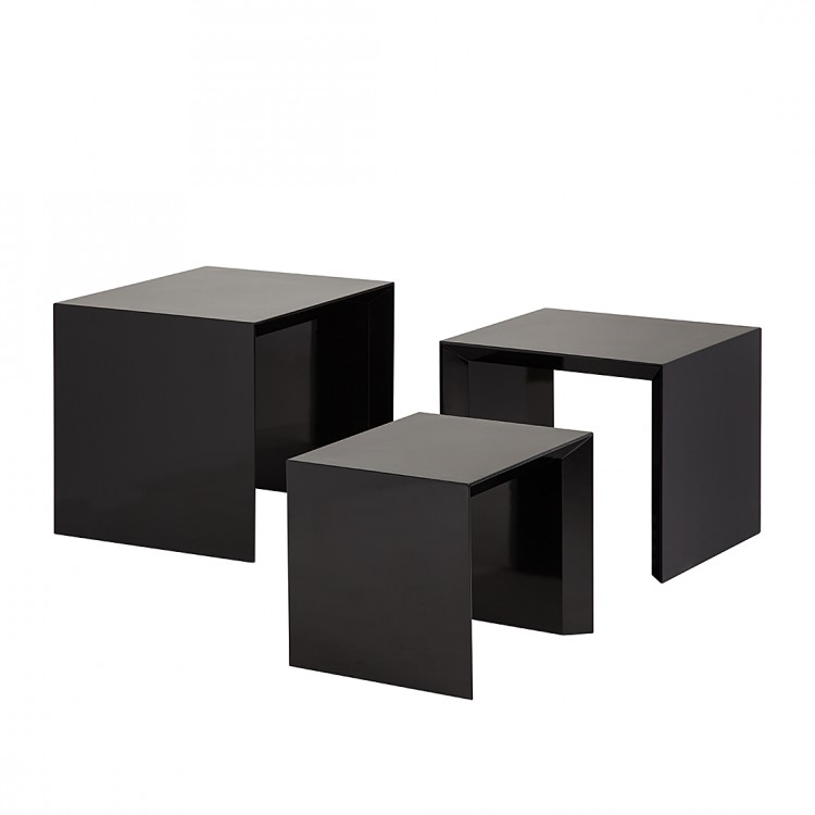beistelltisch set three 3 teilig hochglanz schwarz. Black Bedroom Furniture Sets. Home Design Ideas