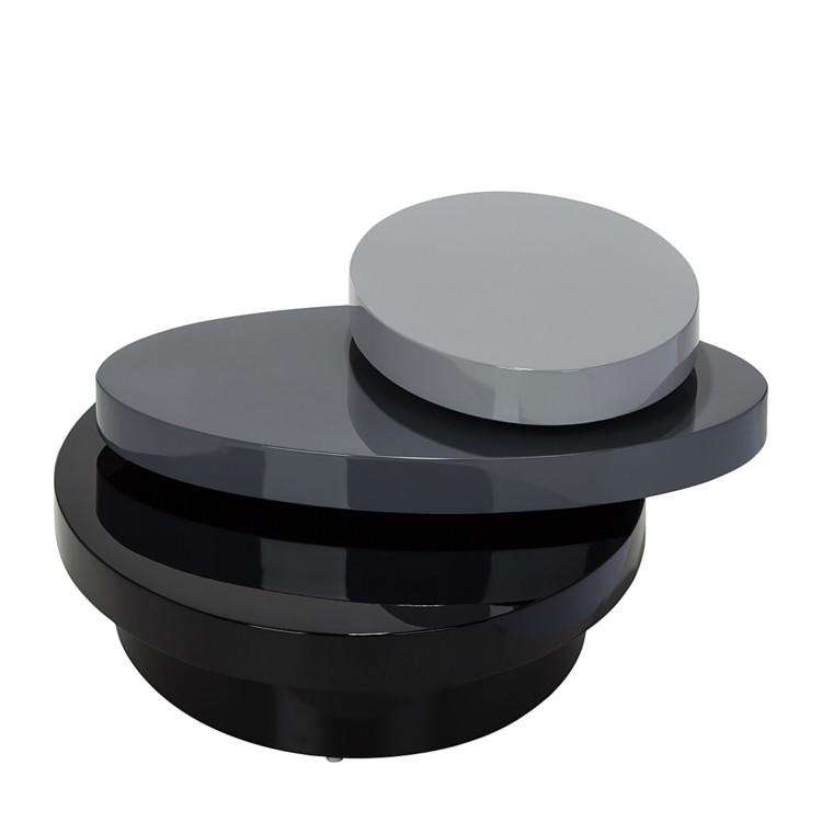 Couchtisch 3 ebenen schwarz grau hochglanz beistelltisch for Beistelltisch grau hochglanz