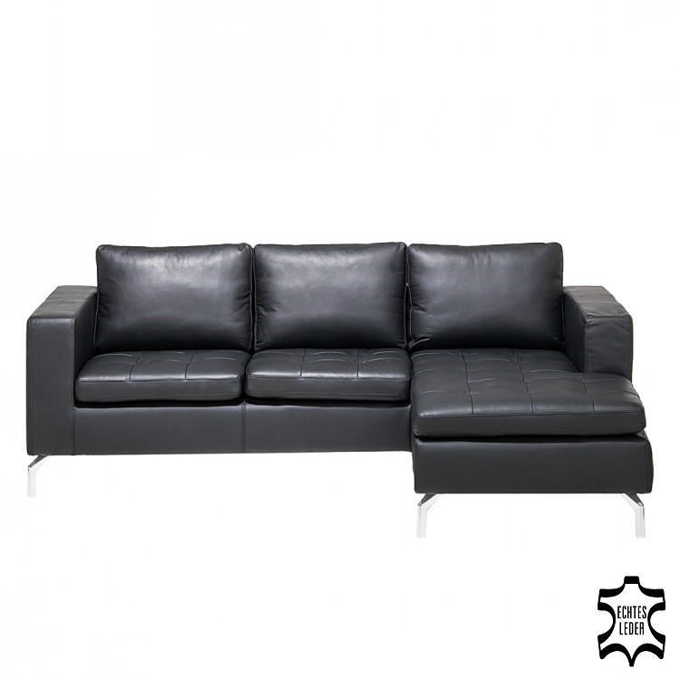 ecksofa maggio echtleder schwarz home24. Black Bedroom Furniture Sets. Home Design Ideas